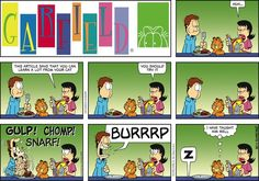 """Created by Jim Davis, Garfield is about the famous fat cat and his hilarious daily adventures with his """"pal"""" Odie and others. Garfield Quotes, Garfield Cartoon, Garfield And Odie, Garfield Comics, Funny Cute, Hilarious, Funny Stuff, Funny Things, Humor"""