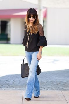 Bell sleeve top, flare jeans, Celine edge, 70s, street style, petite blogger, office wear