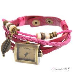 PU Leder Armbanduhr Blatt vintage pink im Organza Beutel