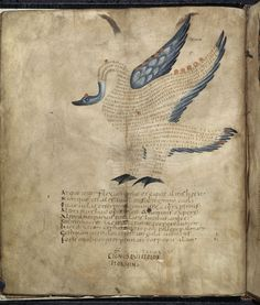 Manuscript from the early Middle Ages (France, 9th century); image illustrates Cicero's Aratea, a work of astronomy. Each animal represents a constellation and the written words in them are taken from an explanatory text by Hyginus (his Astronomica).