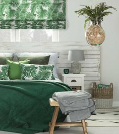 Bring the tropics indoors with zingy lime and bright magenta for a jungle-inspired bedroom. This gorgeous emerald green with palm-leaf printed blind and cushions set against a white-washed wooden head Bedroom Design, Tropical Bedrooms, Green And White Bedroom, Green Bedroom Decor, Emerald Green Bedrooms, Beautiful Bedrooms, Bedroom Green, Bedroom Color Schemes, Stylish Bedroom
