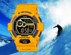 This yellow G-Lide GLS-8900-9 G-Shock features a golden stretch all around the display as well as has a Black dial with gold like display for a cool and tough avatar.