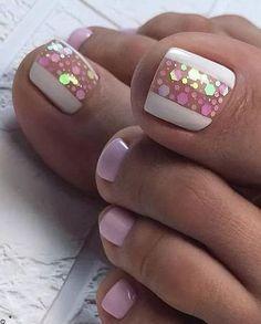 Simple Toe Nails, Pretty Toe Nails, Cute Toe Nails, Toe Nail Art, Acrylic Nails, Yellow Toe Nails, Nail Pink, Nail Art Designs, Feet Nail Design