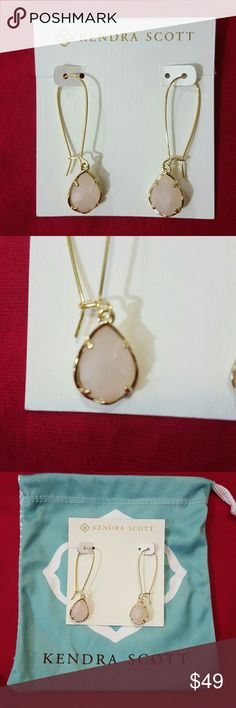"""Kendra Scott Dee Drop Earrings NWT. Rose pink Quartz  Dainty teardrop shape set in 4 prongs. 14kt gold plated over brass. size 2""""L x 0.5"""" on earlier. Due to one of a kind nature of medium exact color and patterns may vary slightly . Dust bag included. Kendra Scott Jewelry Earrings"""