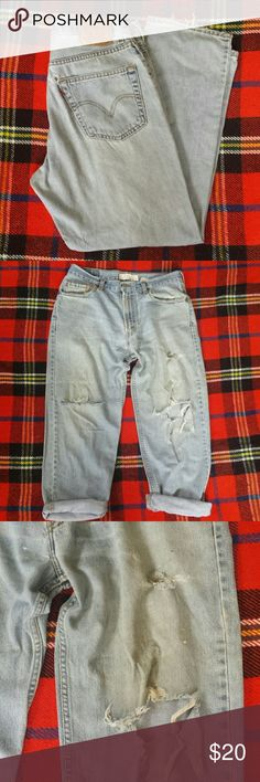 Men's Distressed 550 Relaxed Fit Levis Lots of tears and distress (photo 2 & 3)  W: 34 L: 30 Levi's Jeans