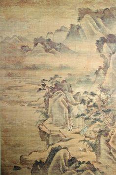 傳 李慶胤, 山水人物圖, 16세기 말, 비단에 담채, 91.1×59.5㎝, 國立中央博物館 Yi Kyŏng-yun : Landscape with Figures, Light color on silk, Joseon period(late 16th)