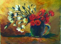 Vincent Van Gogh:  Vase with Red and White flowers:  A One hour on line acrylic painting  lesson (Gingercooklive) A detailed back ground painting lesson is free on my you tube channel ginger cook live. #gingercook  #art