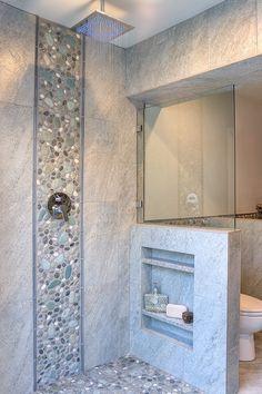 Rain shower with LED light.  Shampoo niche.