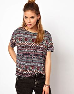 Glamorous Oversize T Shirt In Aztec Print. too casual? but with a black high rise skirt?