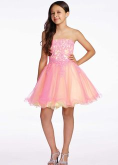 Lexie by Mon Cheri TW11657 Pink/Yellow Lace & Tulle Girls Party Dress
