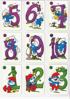 Barajas y Naipes: El juego de los PitufoNúmeros Walt Disney Pictures, Alphabet, Baby Animal Drawings, Disney Pixar, Color Crafts, Birthday Design, Math For Kids, Disneyland, Baby Animals