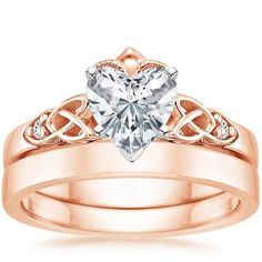 14K Rose Gold Celtic Claddagh Matched Set from Brilliant Earth