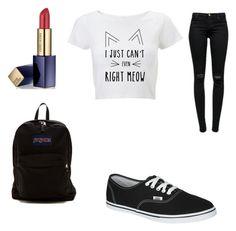 """""""Back to school #2"""" by melenahhood ❤ liked on Polyvore featuring mode, J Brand, Estée Lauder, JanSport et Vans"""