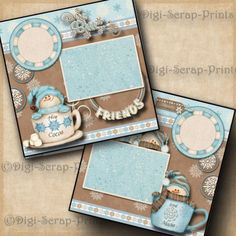 HOT COCOA winter ~ 2 premade scrapbook pages paper piecing 4 ALBUM ~BY DIGISCRAP
