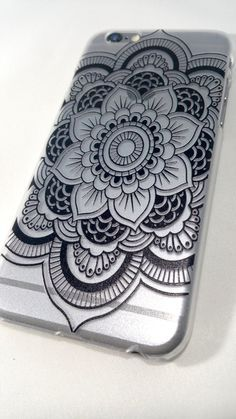 Featuring our black henna collection! Snap-on hard plastic case with a unique henna design of a floral mandala in black!