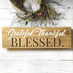 Wood signs with phrases   Grateful Thankful Blessed   Christian wooden signs   Rustic home decor pieces   Reclaimed wood signs