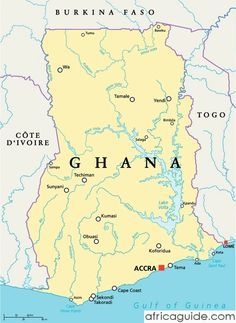 Lake Volta Africa Map.Ghana Map With Capital Accra Afirca Pinterest Republic Of