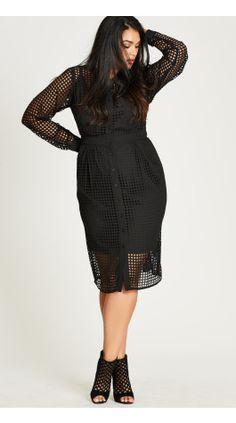 Plus Size Black Flicker Dress in black at City Chic | citychiconline.com