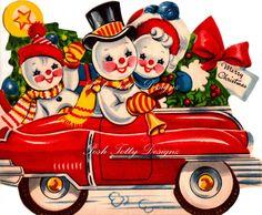 Vintage 1930s Snowmen In Automobile Christmas Greetings Card Digital Download…