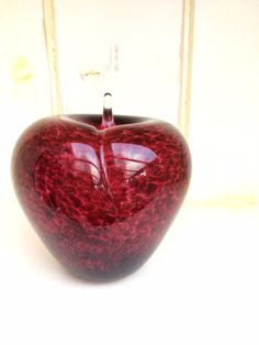 Ruby red glass paperweight - Apple