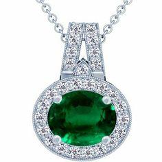 Platinum Oval Cut Emerald And Round Diamond Pendant GemsNY. $18146.00. Save 50%!