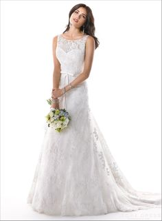 Lovely 2014 New Arrival Style Bateau Lace Wedding Dress at Storedress.com