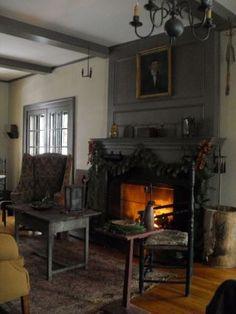 Primitive and Colonial Interiors Decor, Home, Interior, Primitive Fireplace, Colonial Living Room, Primitive Living Room, Colonial Decor, Cozy House, Home Decor