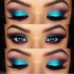 Ik ben normaal gezien van de nude oogschaduwlooks, maar deze kleurrijke 'peacock eyeshadow' vind ik echt prachtig! Felle kleuren, heel leuk om eens mee te spelen. Wat vinden jullie van deze looks?