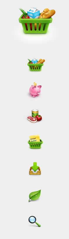 Grocery Shopping Icons Set by Eryk Pastwa, via Behance
