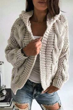 Cardigan knitted coat cardigan with braids warm dress cozy dress winter clothing gift ideas handmade object cover up Warm Dresses, Winter Dresses, Winter Outfits, Dress Winter, Winter Clothes, Hippie Crochet, Knit Crochet, Cardigan Pattern, Knit Cardigan