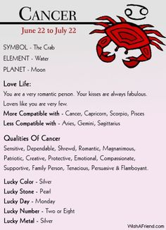 Astrology cancer hookup cancer astrology traits of july 22
