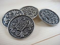 Coat of Arms Buttons x 4 Large Silver Metal by lovevintagecrafts, £3.75