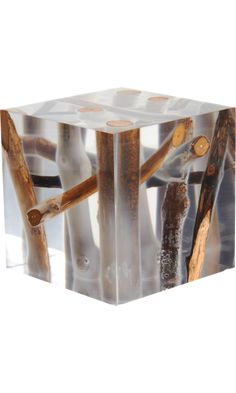 Kisimi Frosted Driftwood Cube, by Bleu Nature. Furniture cube - a handcrafted acrylic glass cube with embedded frosted branches and driftwood cut, sanded and hand polished to transparency.