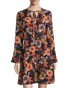 Fit-and-Flare+Floral-Print+Dress,+Orange/Blue+by+5Twelve+at+Neiman+Marcus+Last+Call.