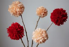 Yarn Pom Pom Flower Craft