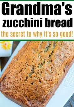 Moist zucchini bread for breakfast or dessert. Best sweet bread using fresh vegetables from your garden or store. #zucchinibread #zucchinirecipe Moist Zucchini Bread, Zucchini Bread Recipes, Quick Bread Recipes, Best Dessert Recipes, Fun Desserts, Healthy Desserts, Breakfast Recipes, Vegan Recipes, Dinner Recipes