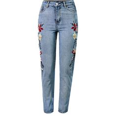 Light Blue Floral Embroidery Acid Wash High Waist Chic Jeans (631.975 IDR) ❤ liked on Polyvore featuring jeans, pants, bottoms, calças, pantalones, embellish jeans, embroidered jeans, high-waisted acid wash jeans, floral embroidered jeans and light blue jeans