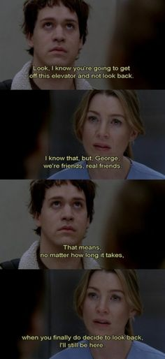 George and Meredith Grey (Grey's Anatomy) Greys Anatomy Memes, Grey Anatomy Quotes, Grays Anatomy, Tv Show Quotes, Movie Quotes, Real Friends, Quote Friends, Grey Quotes, Dark And Twisty