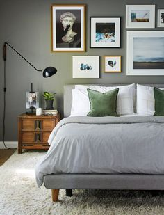 With help from interior designers and industry experts, we reminisced on the past decade to pinpoint the biggest home decor trends from 2010 through Grey Bedroom Paint, Grey Bedroom Furniture, Bedroom Wall Colors, Bedroom Layouts, Furniture Layout, Relaxing Bedroom Colors, Bedroom Ideas, Gray Paint, Furniture Arrangement