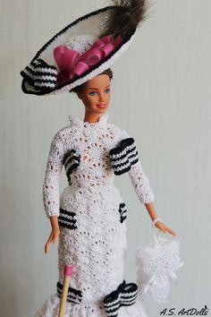 Doll dress Crochet doll dress Audrey Hepburn doll dress - Historical doll dress Barbie gown Barbie c Barbie Gowns, Barbie Dress, Barbie Clothes, Barbie Style, Crochet Doll Dress, Knitted Dolls, Audrey Hepburn, Woman Movie, Victorian Dolls