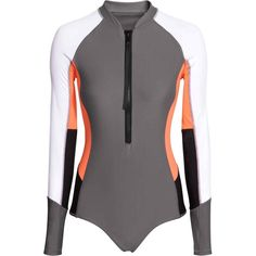 Long-sleeved sports swimsuit featuring polyvore women's fashion clothing…