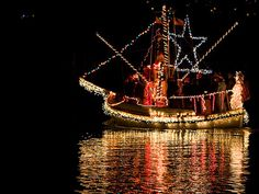 The Mardi Gras lighted boat parade in Lake Charles, LA