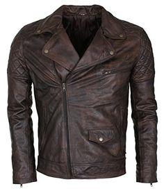 adaa76eba5a Mens Dark Brown Vintage Waxed Genuine Leather Designer Brando Style Jacket  (Medium) Motorbike Leathers