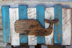Nautical Wall Decor, French Country wall decor, Distressed beach art, Distressed whale art, Whale carving on Etsy, $65.00