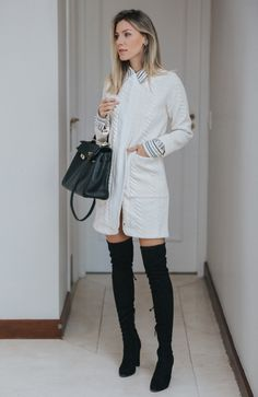 Nati Vozza do Blog de Moda Glam4You usa sobretudo e bota ovet the knee num look super feminino.