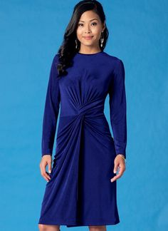 From McCall's: Close-fitting pullover dress sewing pattern has front twist…