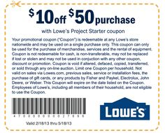 Lowe's Printable Coupons: $10 off $50 (Printable).  Expires 5/18/13