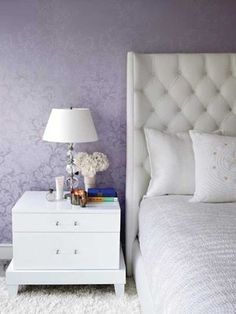 purple wallpaper for bedroom decorating. i also want this exact headboard and plan on making it DIY style.