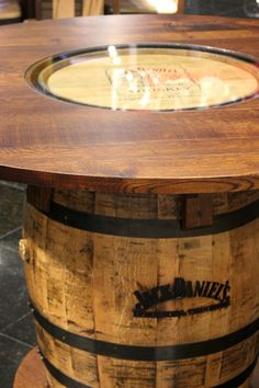 You don't need a man haven to have this awesome Jack Daniel's barrel table at your home. It is solid and the finish in each table is unique. #barrel_table #JackDaniel's #table | Gallery Furniture | Houston TX |
