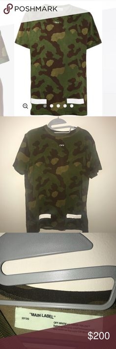 OFF-WHITE Camouflage T-Shirt With White Detail Excellent condition! Only worn once. I purchased this from Farfetch in November, and it retails for $323. I have the original bag as well that will be included with the order! It's an XS men's, which fits like a S to M women's Off-White Tops Tees - Short Sleeve